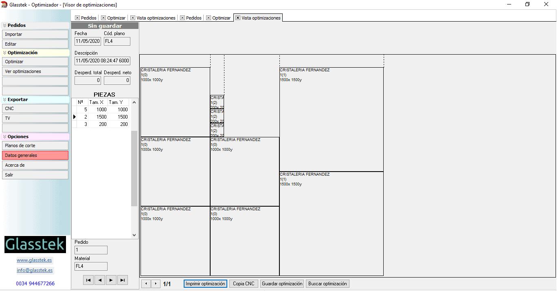 Software optimizacion corte de vidrio